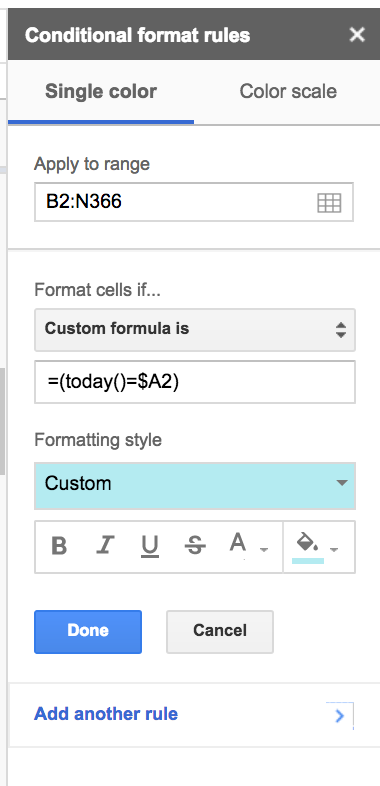 Conditional Formatting for Day Tracker on Google Sheets
