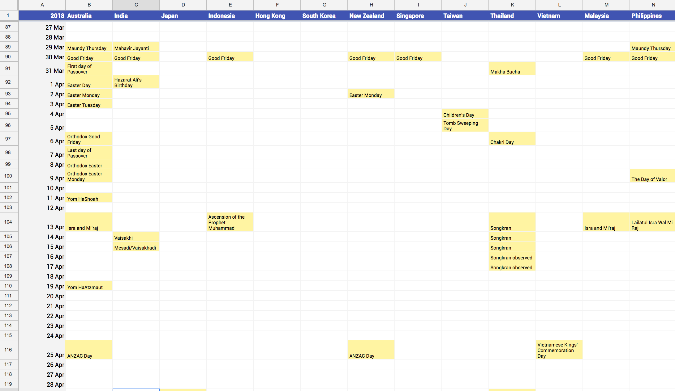 Multi-country calendar aggregator on Google Sheets