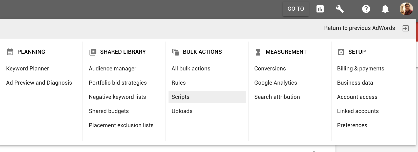 Accessing Adwords Script from the new Adwords Interface