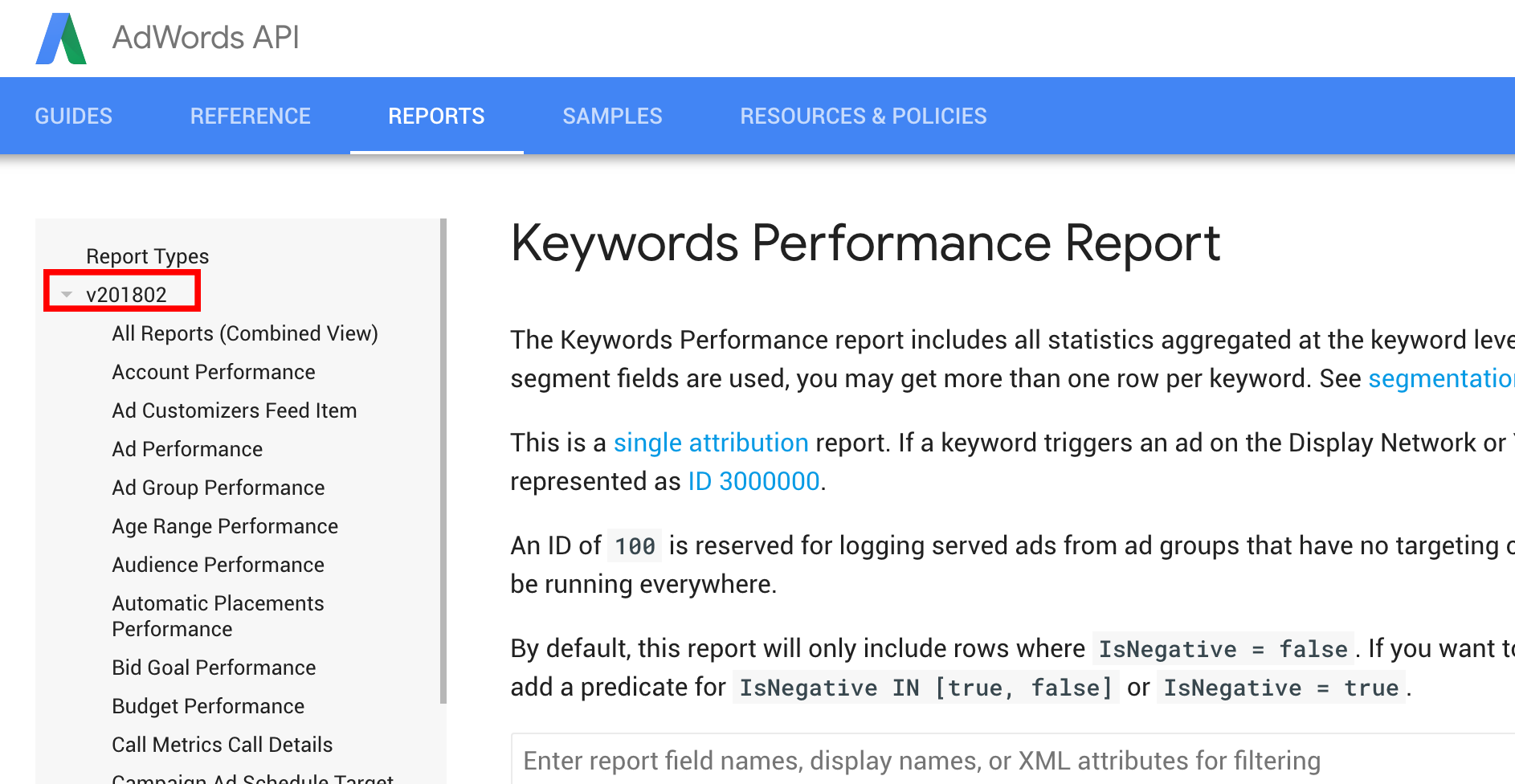 Get the Adwords API version from the rectangular box here