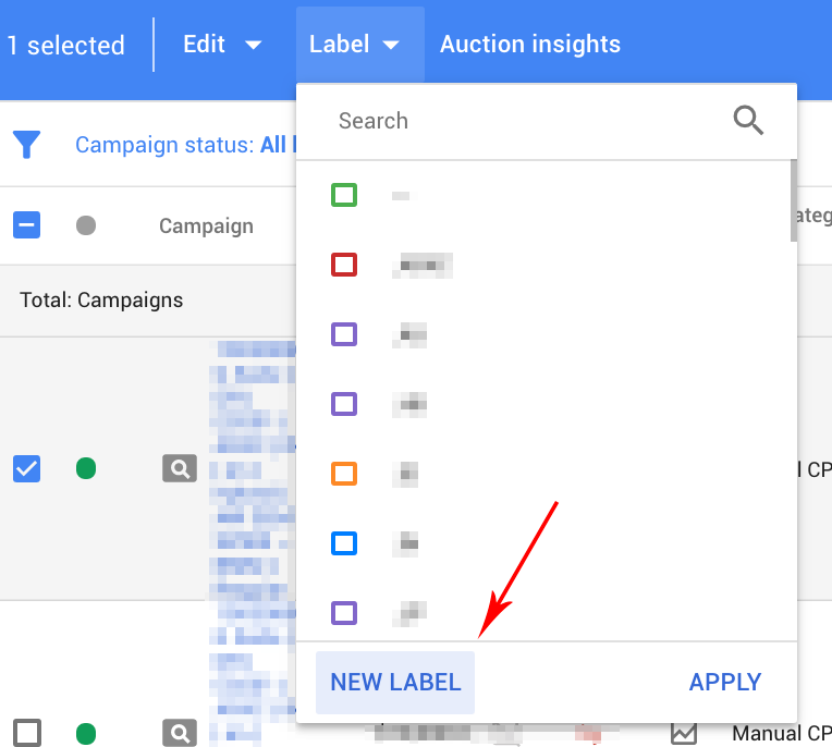 Labelling your AdWords campaign