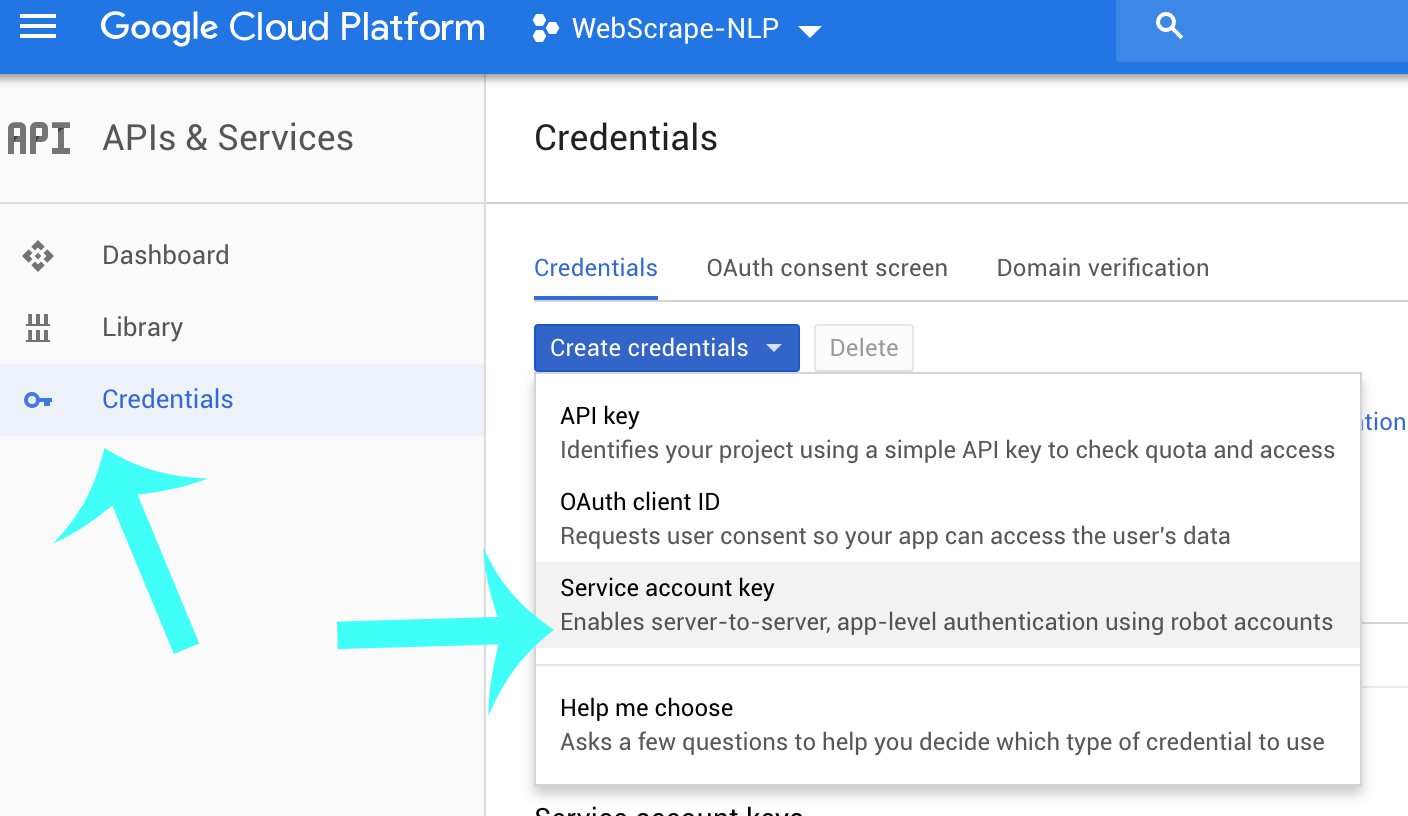 Creating Service Account Key on Google Cloud