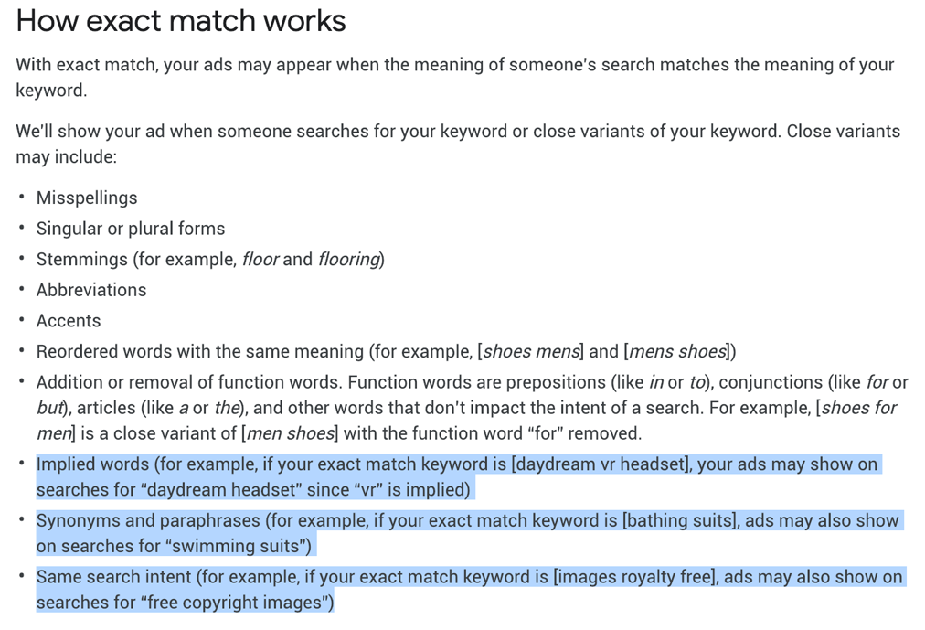 Definition of exact match on Google AdWords