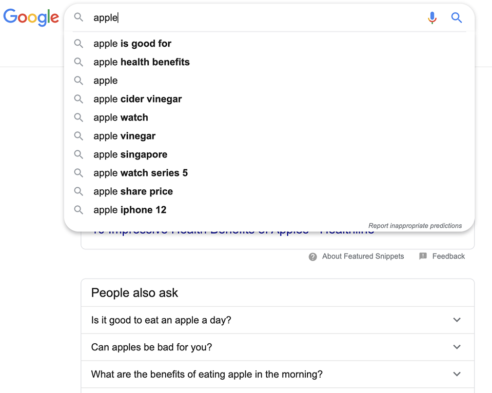 "Searching ""Apple"" after search is apple good for health"