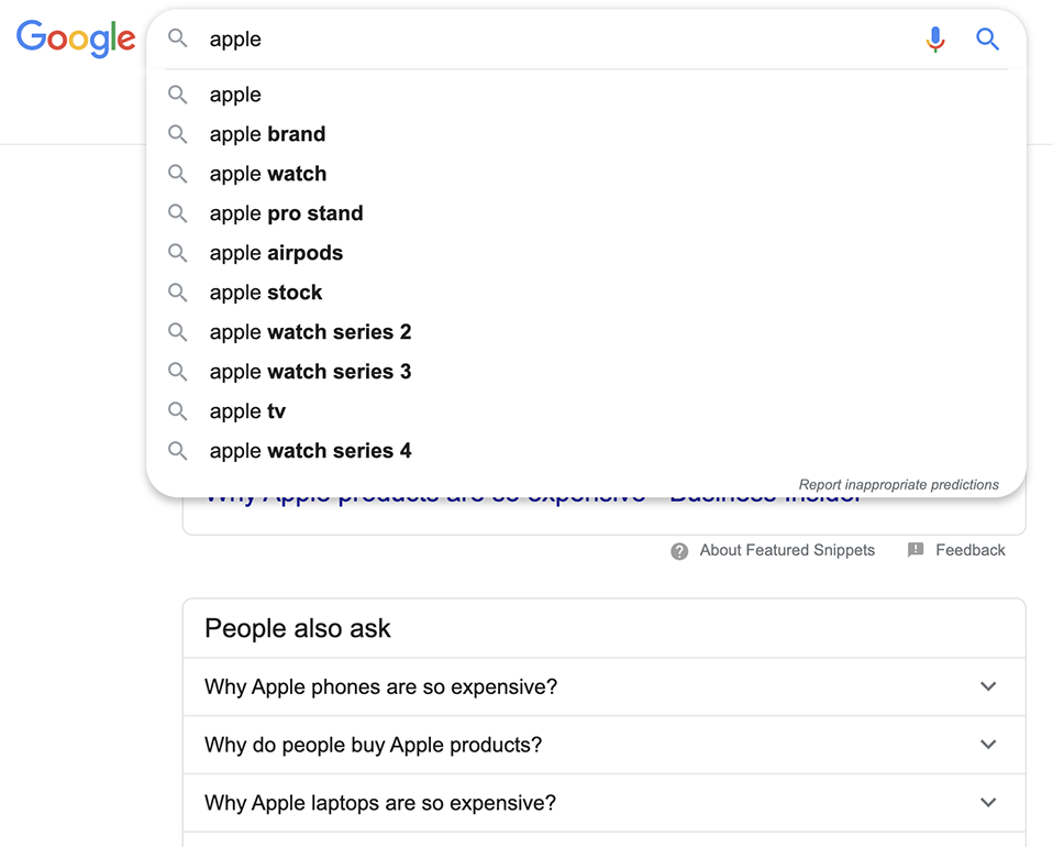 "Searching Apple after searching ""why is apple so expensive"""