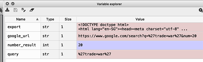 Variable Explorer showing all recent variables