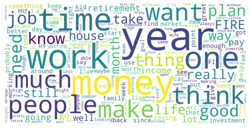 Financial Independence wordcloud